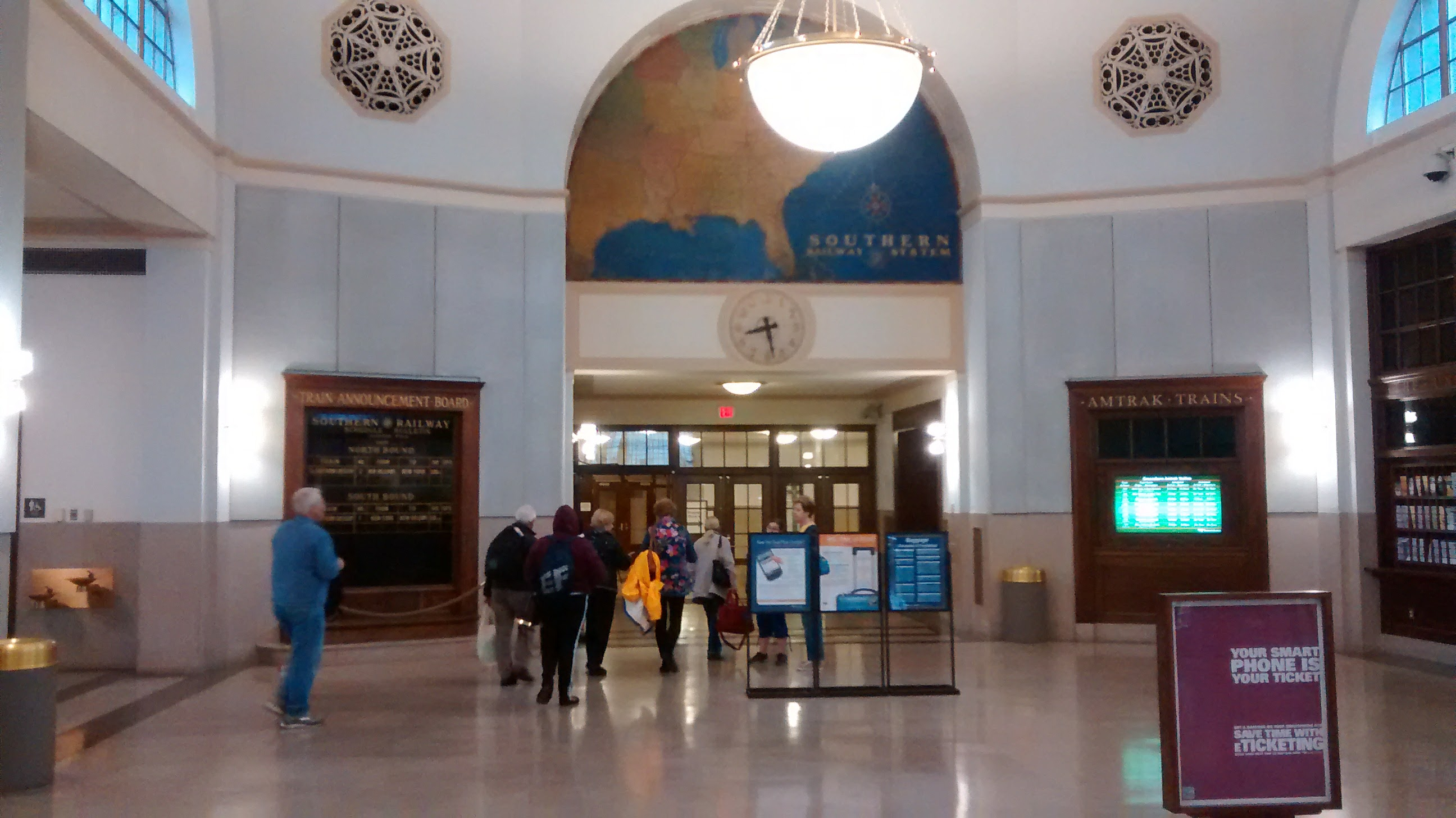 The interior of Greensboro's Amtrak station at The Depot