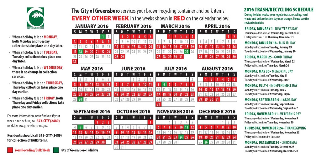 Calendar showing recycling pickup weeks for College Hill in red