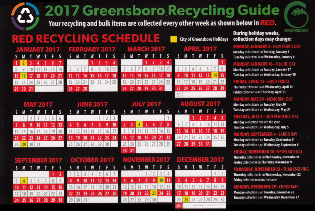 Month0by-month recycling schedule for 2017