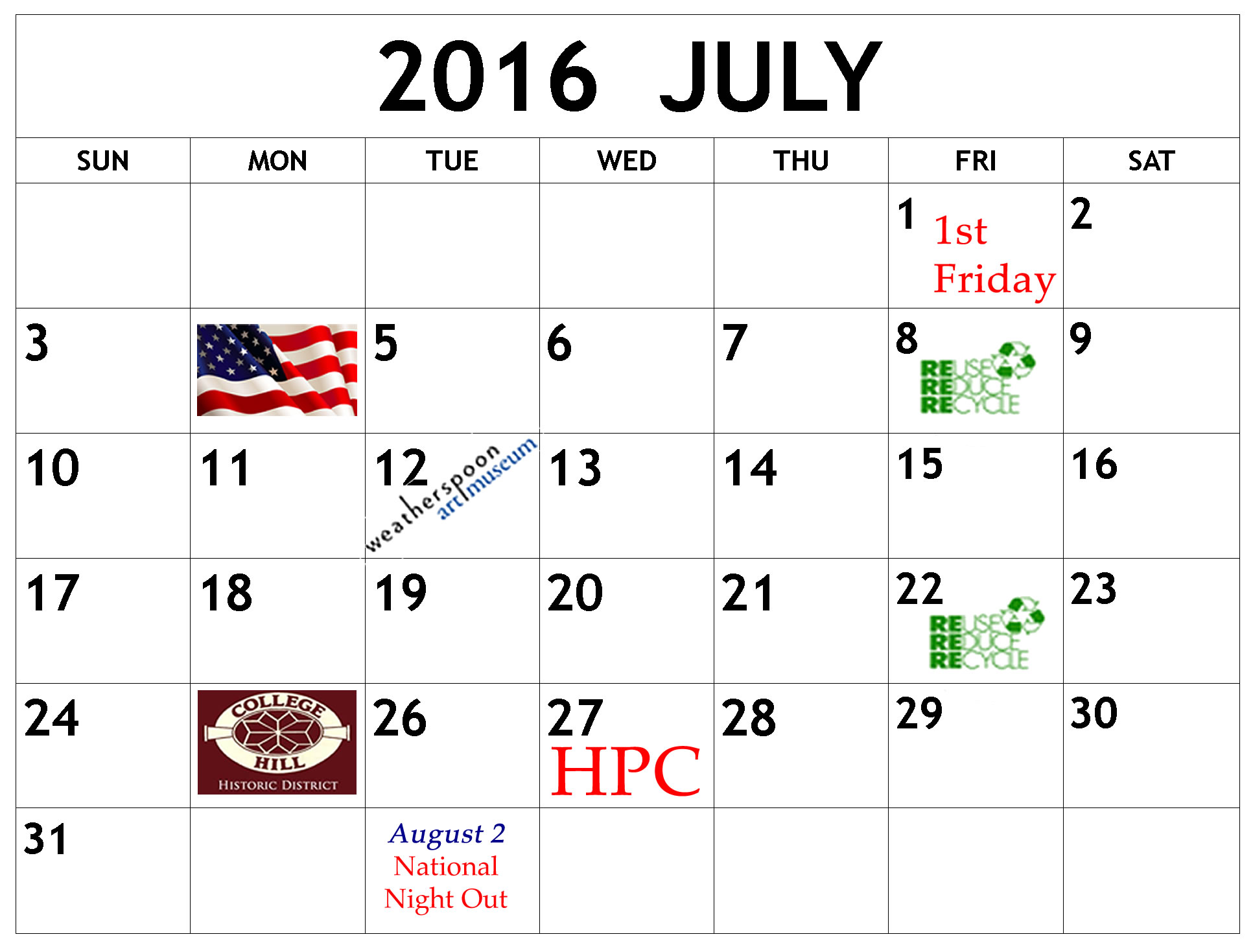 July calendar with College Hill events noted