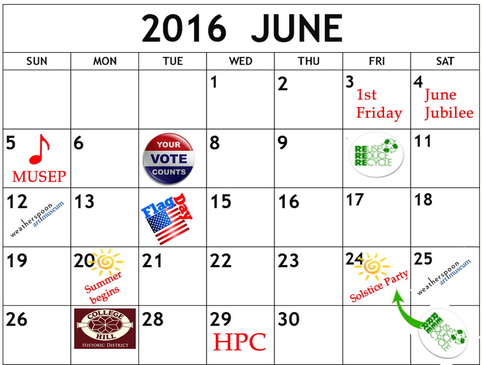 June 2016 calendar with events listed by day
