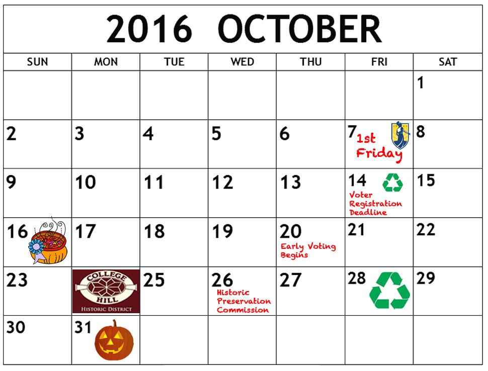 October calendar with key dates noted