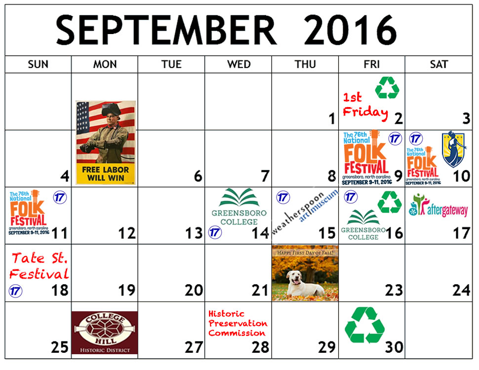 September calendar of events in College Hill