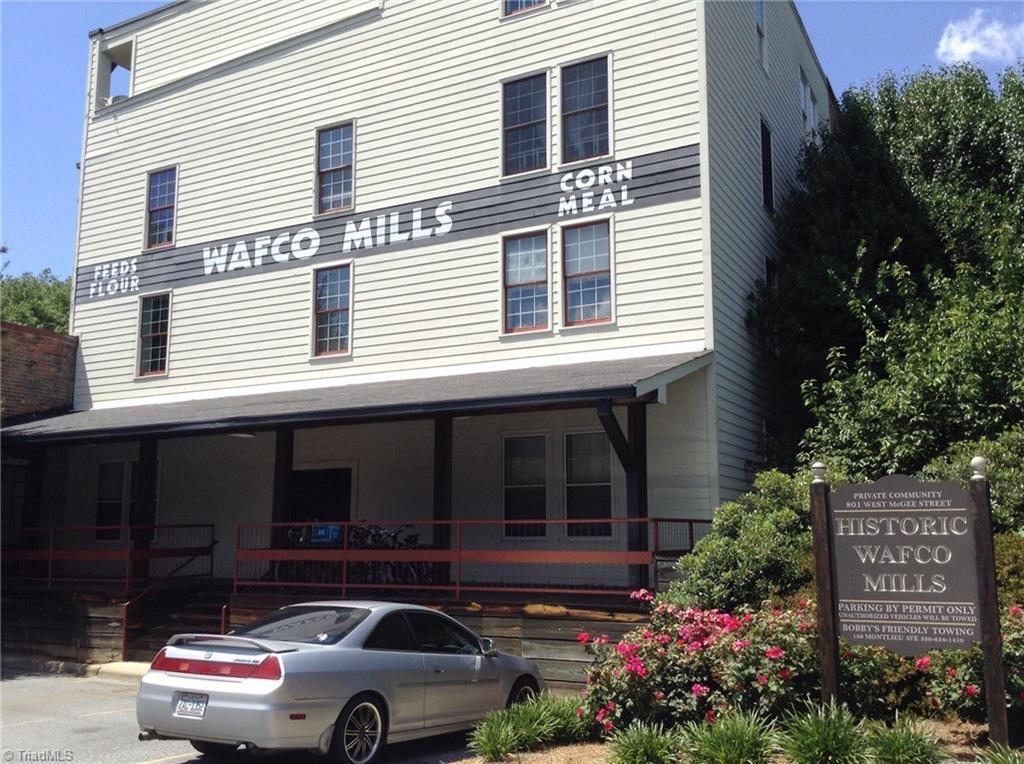 Wafco Mills, view from Cedar Street parking lot