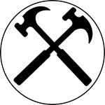 Graphic showing crossed hammers