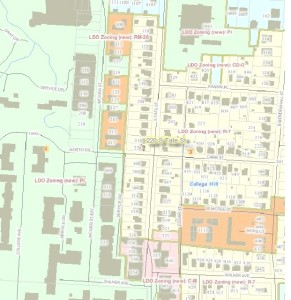 Section of zoning map