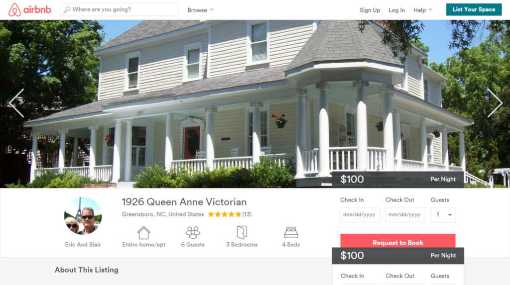 Screenshot from Airbnb website