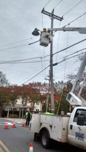 A new streetlight is installed Sunday at Mendenhall Street and Walker Avenue