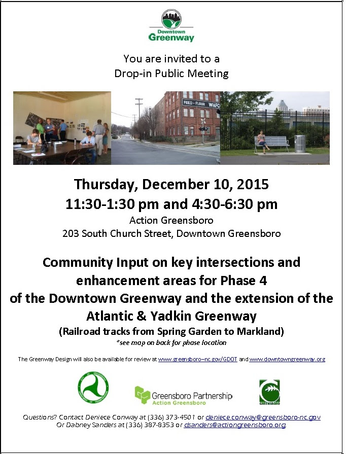 Flyer for Downtown Greenway design meetings at Action Greensboro office, Thursday Dec. 10, 11:30 a.m. and 4:30 p.m.