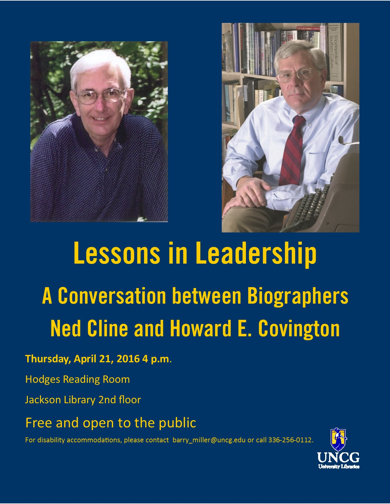 Flyer for Cline & Covington on leadership at Jackson Library, Thursday April 21, 4 p.m.