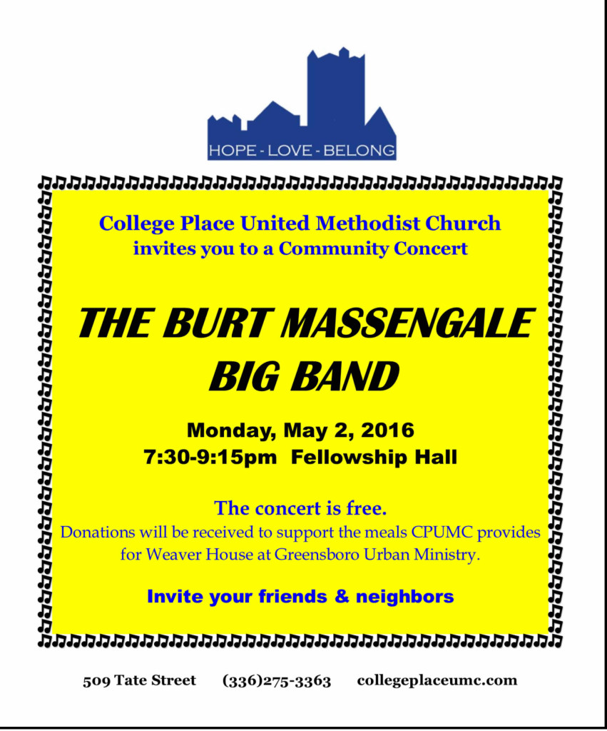 Burt Massengale Big Band @ College Place UMC: Monday 5/2/16, 7:30 p.m.