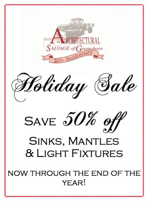 ASG sale flyer: 50% off sinke, mantels, light fixtures