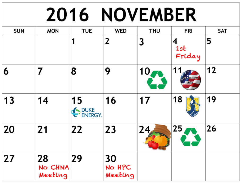 November calendar of events. Click below for details.