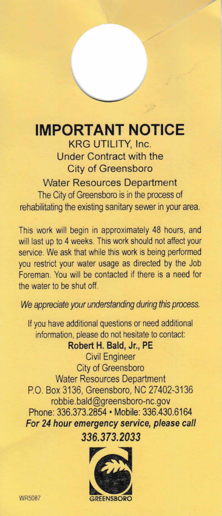 Door-hanger that was distributed in December in re upcoming sewer rehabilitation work