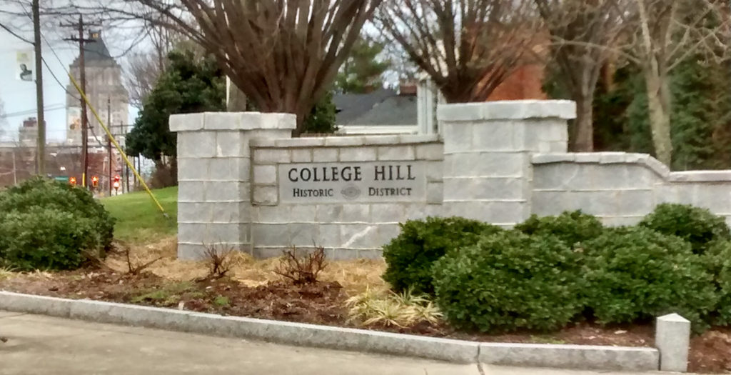 College Hill Historic District sign at Tate and Market streets