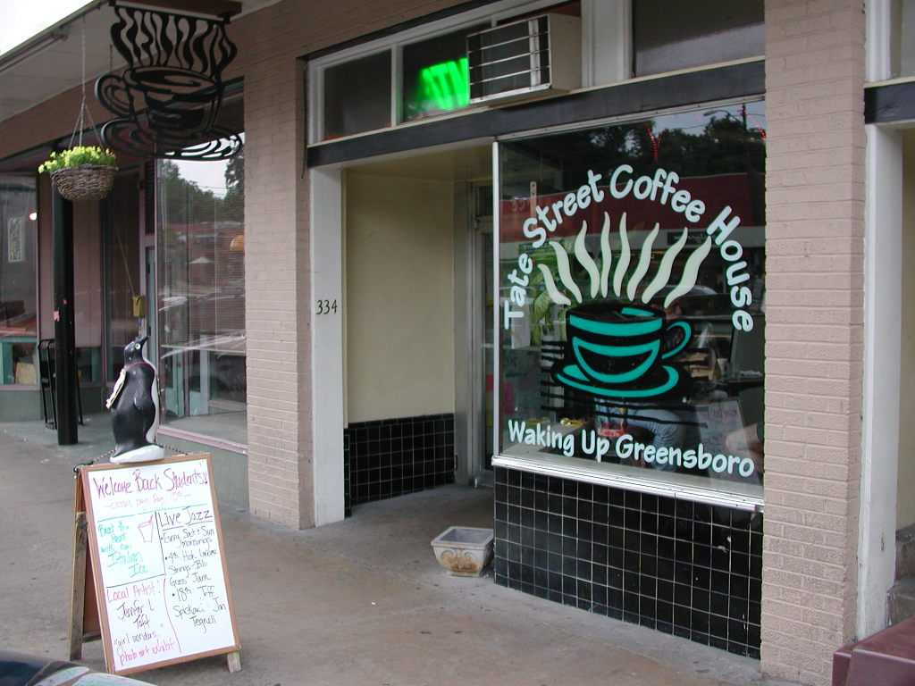 Sidewalk view of Tate Street Coffee