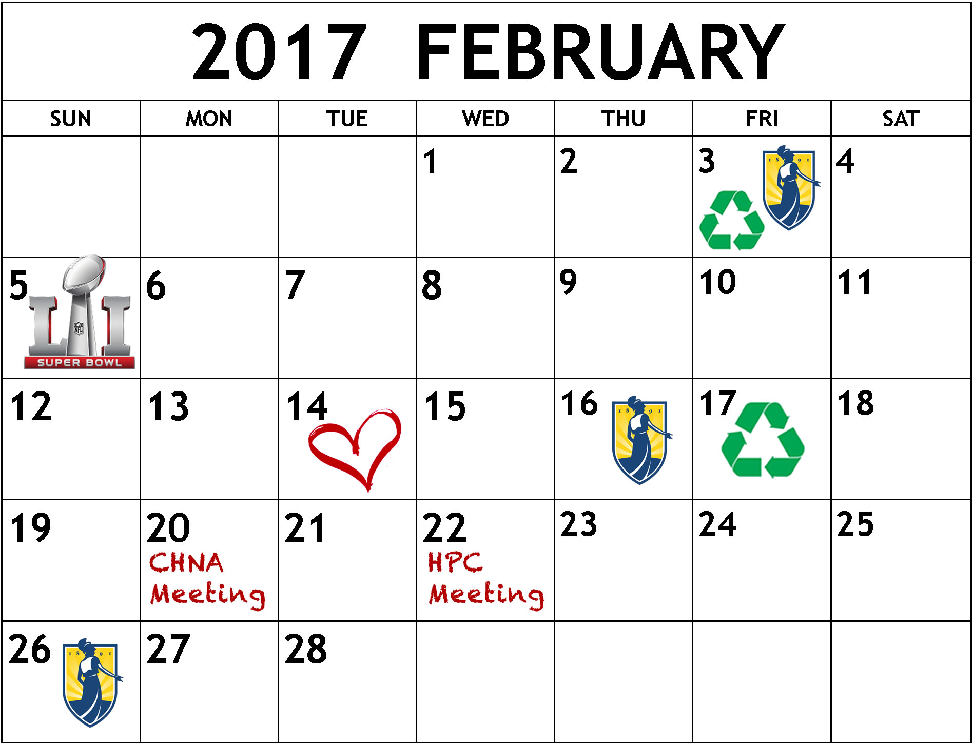 February 2017 calendar of events