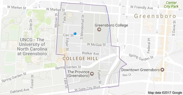 Google map with College Hill neighborhood outlined