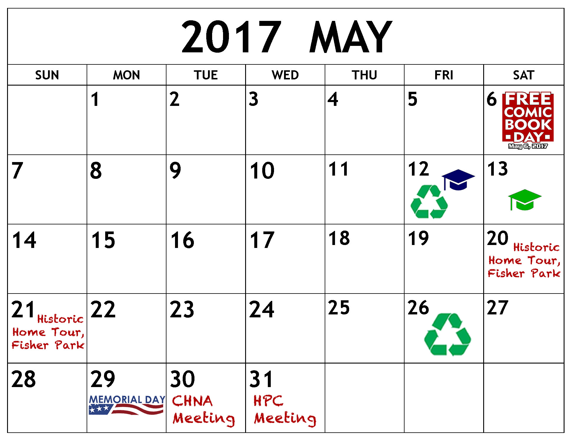 May events displayed on a calendar page