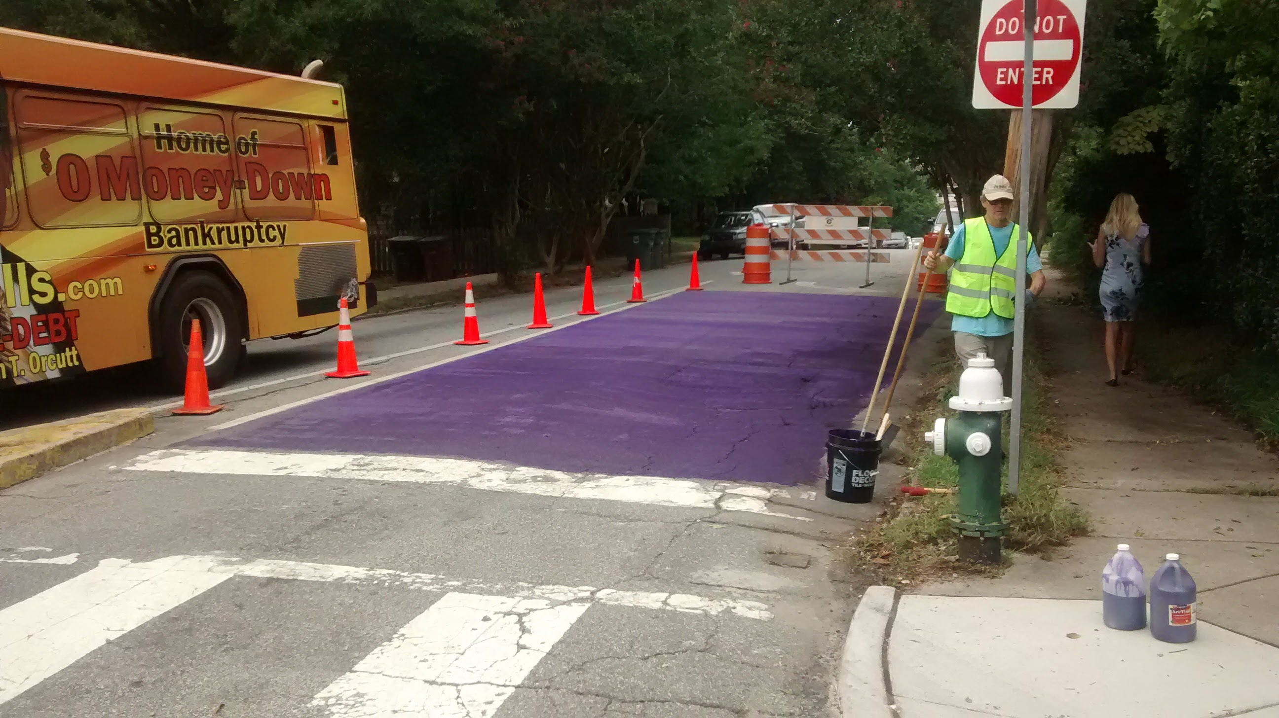 Part of the street blocked off and painted purple