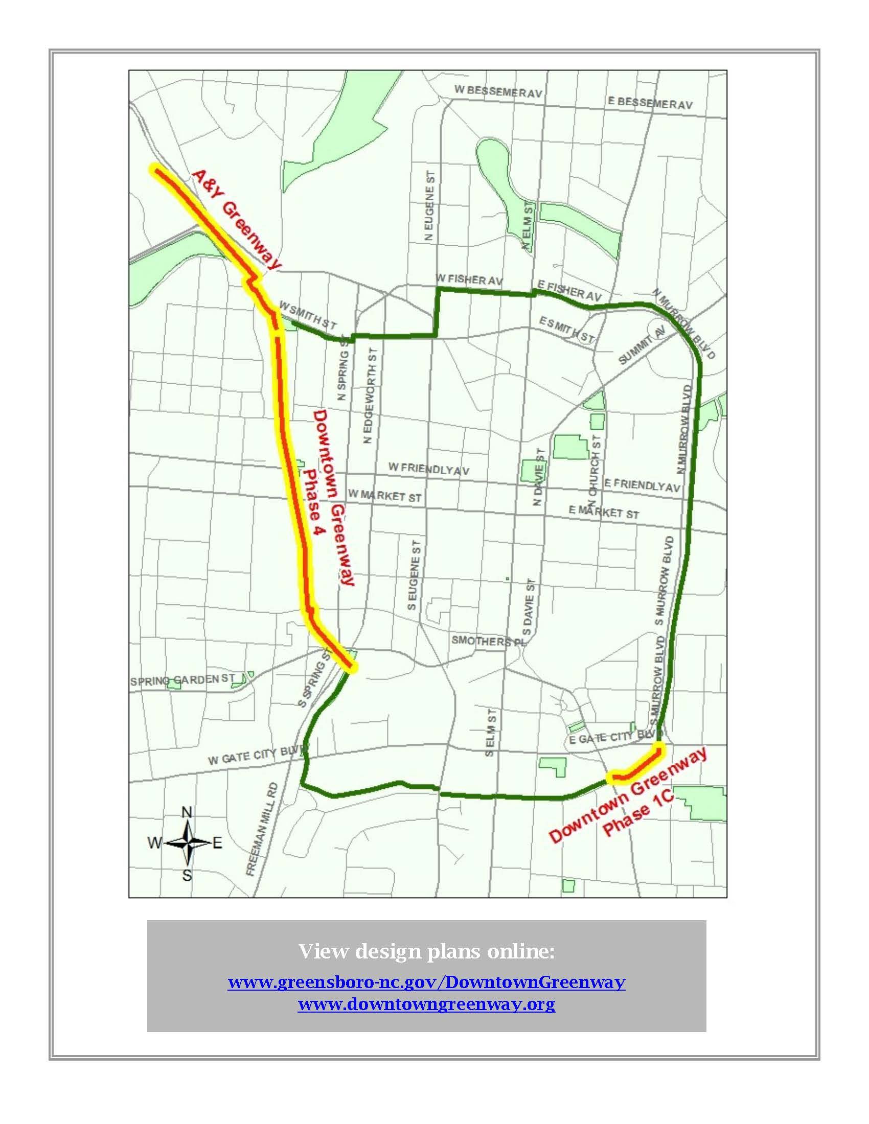 Downtown Greenway map with new sections highlighted