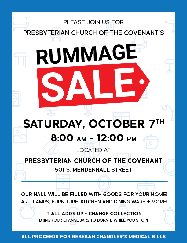 PCOC Rummage Sale: Saturday, October 7, 8 a.m.;p to noon