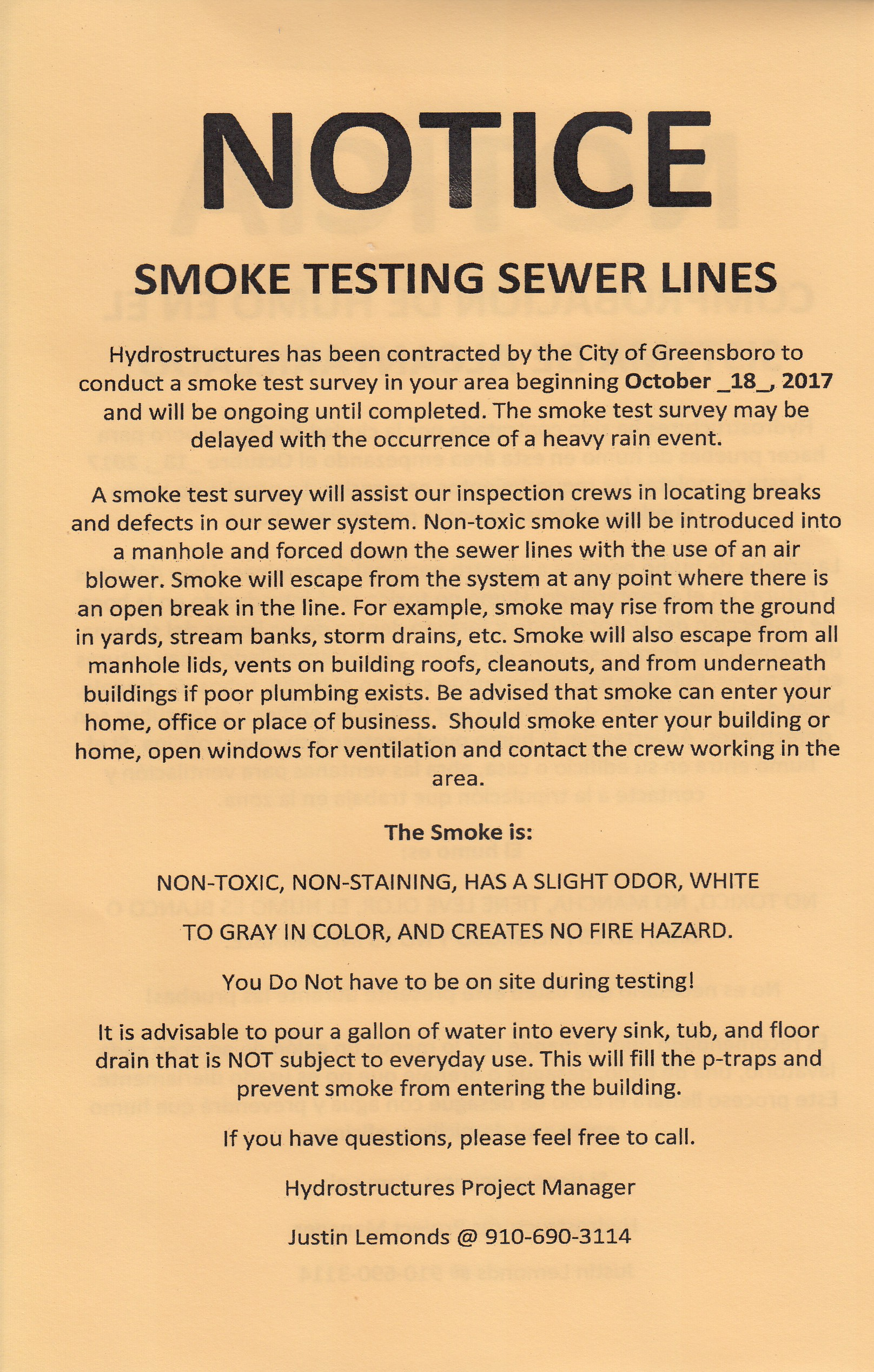 Notice from the city detailing rthe smoke-testing of water lines