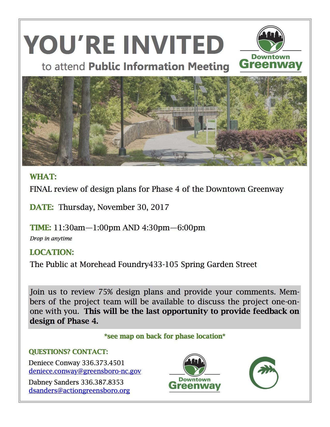 Downtown Greenway Phase Four design meeting, Nov. 30 2017