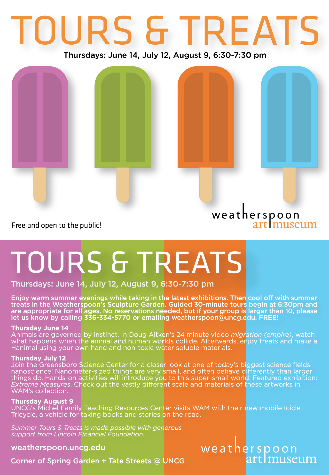 poster for summertime tours and treats