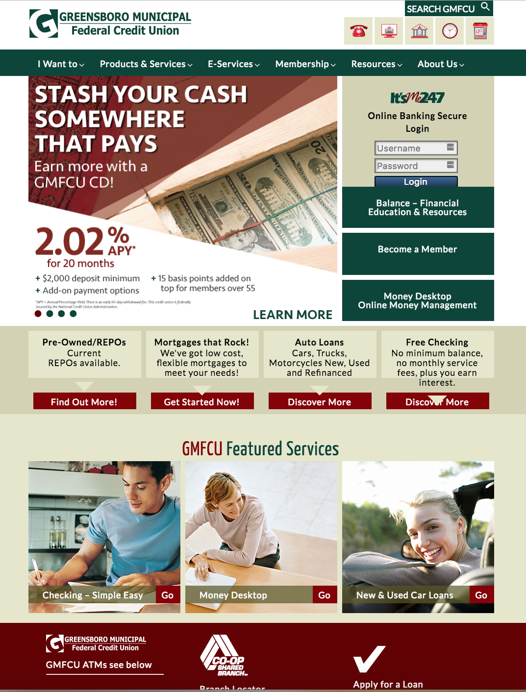 screenshot of credit union website
