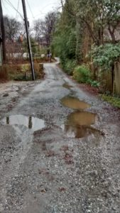 gravel street with potholes filled with rainwater