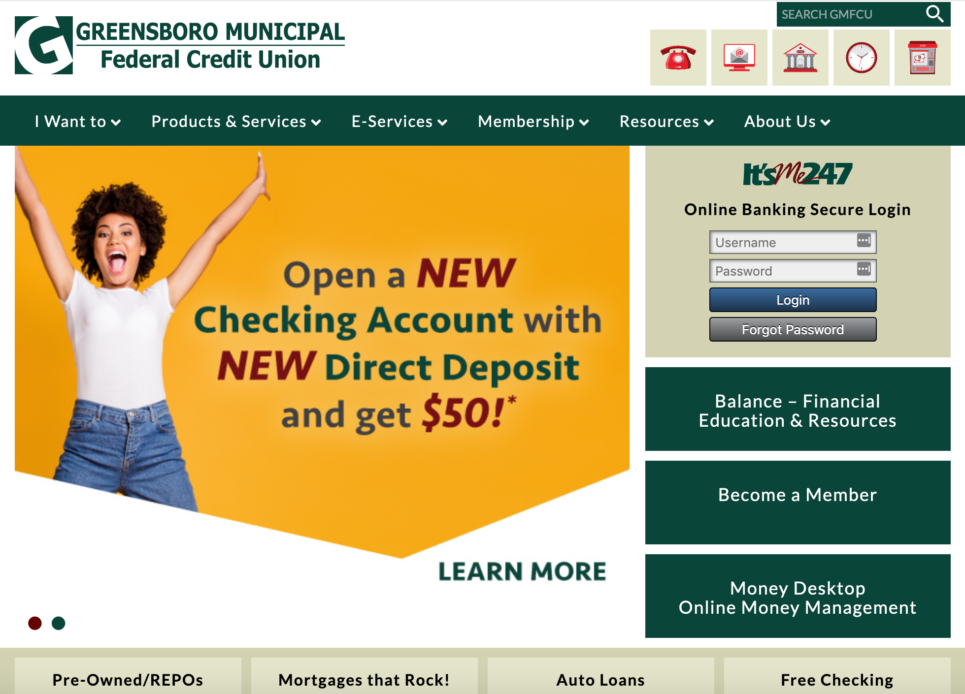 screenshot of credit-union homepage