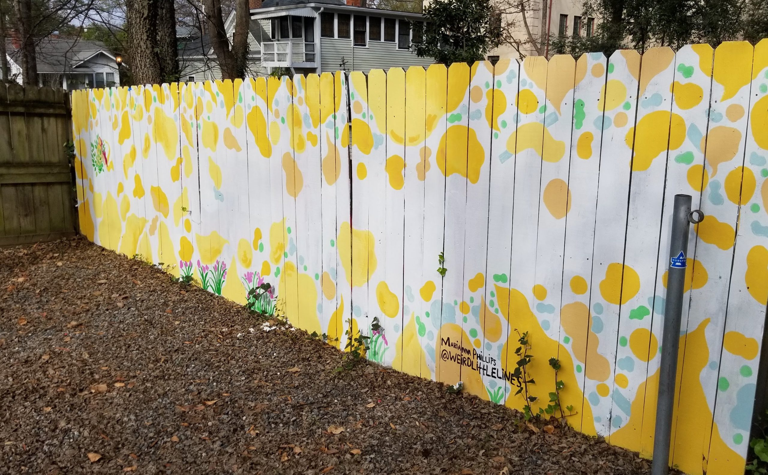 painted wooden fence