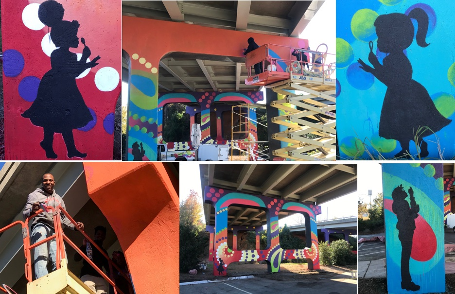 colorful artwork painted on underpass on Spring Garden Street