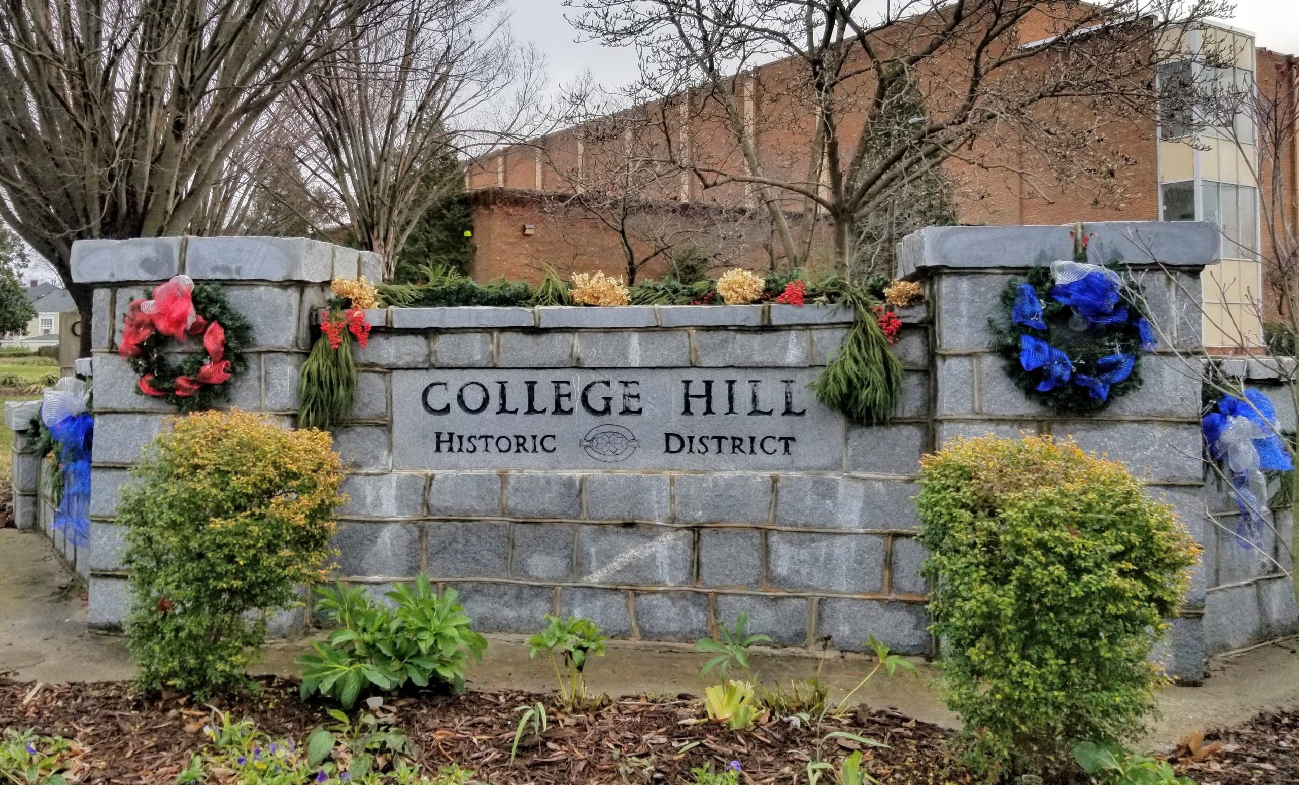decorated College Hill sign at Market and Tate streets