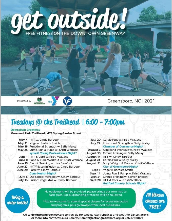 May-Spetember schedule for fitness on the greenway