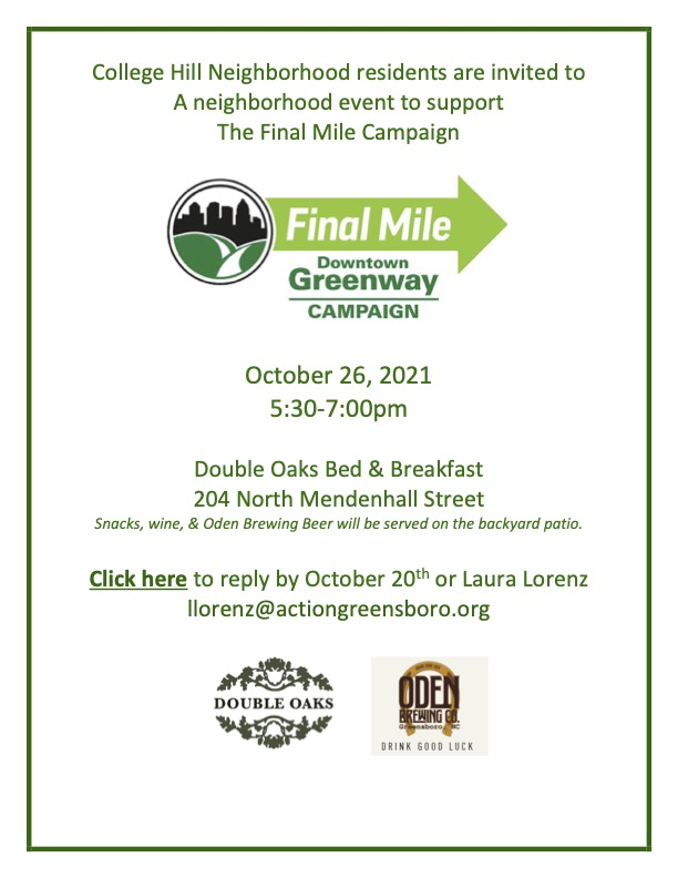 Downtown Greenway Final Mile Campaign Event: Tues Oct 26 5:30-7 pm @ Double Oaks